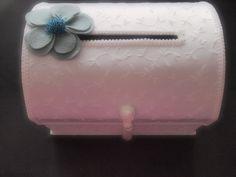 Gift Card Box Wedding White Pastel Sky Blue  80 flower colors 50 bead colors by ArtisanFeltStudio on Etsy