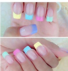 24 Lovely French Nail Art Designs Suited for Any Occasion - Highpe Easter Nail Designs, Easter Nail Art, Nail Designs Spring, Nail Art Designs, Nails Design, French Nail Art, French Tip Nails, Colored Nail Tips French, Colorful French Manicure