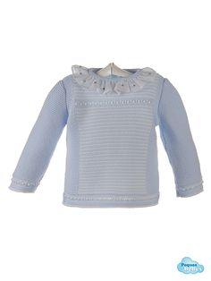 Detalle del jersey azul http://www.pequesybebes.es/conjuntos-bebe-nino-nina-invierno/484-conjunto-bebe-jersey-ranita-pique.html