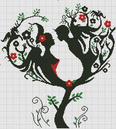 "Photo from album ""Схемы для Вышивки / Schemi punto croce"" on Yandex. Monogram Cross Stitch, Cross Stitch Tree, Cross Stitch Heart, Cross Stitch Kits, Cross Stitch Designs, Cross Stitch Patterns, Cross Stitching, Cross Stitch Embroidery, Floral Embroidery"