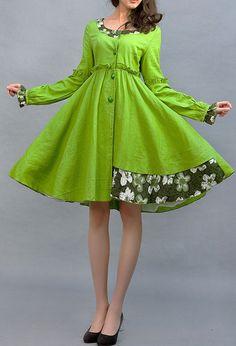 button down dress, shirt dress, green dress, linen dress, Light green dress…