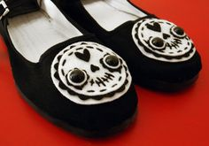Day of the Dead Shoes - Sugar Skull Mary Janes - Size 9
