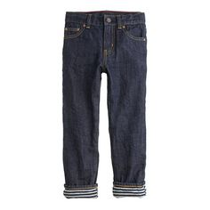 Every day is pretty much a jeans day, but some of those days require a little something extra to stay warm. That's why this pair is lined in cotton jersey for an added layer of toastiness. <ul><li>Slim fit.</li><li>Cotton.</li><li>Sizes 2-12 have an internal adjustable elastic waistband.</li><li>Zip fly.</li><li>Sizes 2-7 have snap closure; sizes 8-16 have button closure.</li><li>Traditional 5-pocket styling.</li><li>Machine wash.</li><li>Import.</li><li>Online only.</li></ul>