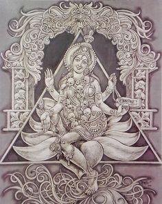 Goddess Kali Sitting on Lotus