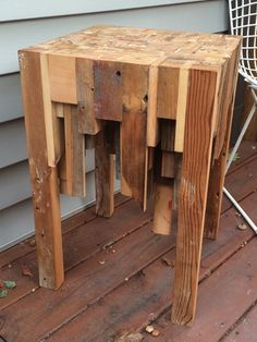 Reclaimed scrap wood side table in stock and ready by PettyThings
