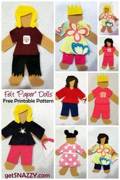 Felt Paper Dolls - EASY DIY Gift Idea - Quiet Activity for Kids {Free Printable} getSNAZZY.com