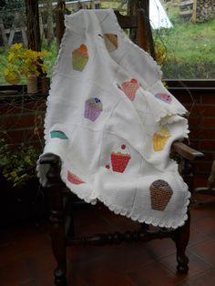 Original Design. Cupcake Baby Blanket, white Tunisian crochet with cross-stitch motifs.. £50.00, via Etsy.