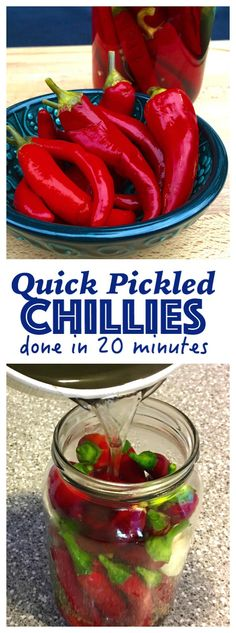 Quick Pickled Chillies are a great condiment for punching up the flavour of burgers, Asian soups, noodles, stir frys. Chilli Recipes, Canning Recipes, Pepper Recipes, Tuna Recipes, Sauce Recipes, Fall Recipes, Vegetarian Recipes, Pickled Hot Peppers, Pickling Peppers