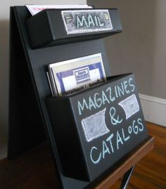 Tabletop Mail Organizer chalkboard with magazine and mail pockets