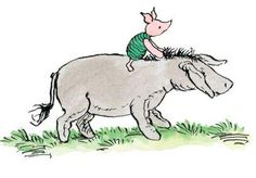 Eeyore trotted to the very edge of the Forest, with Piglet on his back clinging tightly to his mane