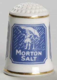 Vintage Gold Trim Morton Salt Porcelain Advertising Thimble - Franklin Mint 1980