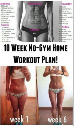 10 WEEK NO-GYM HOME WORKOUT PLAN!   Fitness women