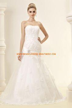 Glamouröse trägerlose tiefe Taille A-linie Hochzeitskleider aus Organza