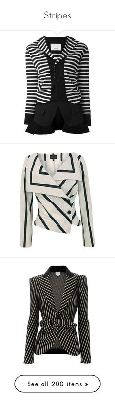 """Stripes"" by sonjanaimann ❤ liked on Polyvore featuring outerwear, jackets, blazers, black, striped jacket, blazer jacket, deconstructed blazer, cotton blazer, stripe blazer and tops"