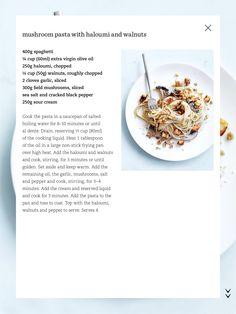 Mushroom pasta with haloumi & walnuts