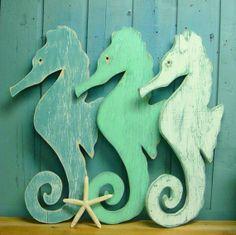 Large Turquoise White Weathered Wood Seahorse by CastawaysHall, $59.00
