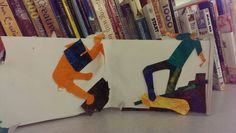 Detail of Eric Carle style childrens book sample boys heads have been pulled or fallen off and needs to be replaced