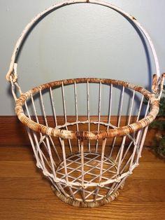 Antique Vintage Wire Egg Gathering Basket - Farmhouse Decor Rustic Primitive  | eBay