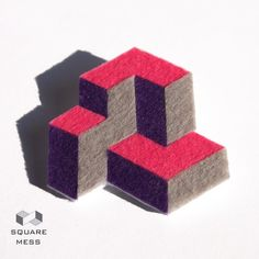 Geometric pink and purple felt brooch by SquareMess on Etsy