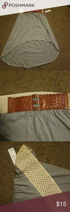 Justify hi-low skirt. NWT. Large Justify hi-low skirt. NWT. Large. Grey. Belt built in. Justify Skirts High Low