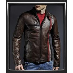 Cyclops Brown Frontier stripes Vintage Leather  Jacket