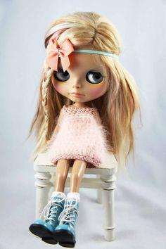 SALE Trendy headband for Blythe doll Peach and by BlytheBlu