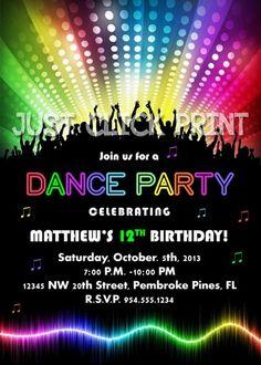 Neon Glow Dance Party Birthday Party Invitation Printable | DigitalDelight…