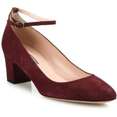 SJP by Sarah Jessica Parker Ingenue Suede Ankle-Strap Block-Heel Pumps (500 AUD) ❤ liked on Polyvore featuring shoes, pumps, apparel & accessories, bordeaux, block heel ankle strap shoes, ankle tie shoes, square toe pumps, bordeaux shoes and suede pumps