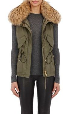 SAM Fur-Trimmed Vest at Barneys New York