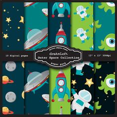 Outer Space Digital Paper Pack perfect for stationary by DreAmLoft, $3.99