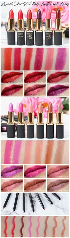 L'Oreal Colour Riche Matte Lipsticks and Liners Review and Swatches