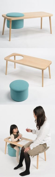 A cool stool! Simple seat that turns into a child's desk.