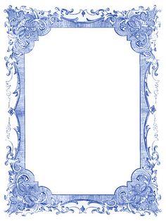 Vintage Blue Frames and Stars - Hanukkah - The Graphics Fairy