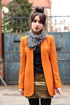sequin skirt! bright blazer! scarf! high bun! yes please!