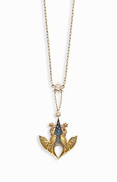 """AN ART NOUVEAU DIAMOND, ENAMEL AND GOLD """"COCKERELS"""" PENDANT, BY LUCIEN GAUTRAIT  The pendant designed as two gold sculpted cockerels crowing against a blue and yellowish green plique-à-jour enamel dawn sky with rose-cut diamond stars, to the star-set diamond surmount, suspended from a gold link chain, joined by a larger gold and old mine-cut diamond star, mounted in 18k gold, circa 1900, 17½ ins., with French assay mark  Signed L. Gautrait for Lucien Gautrait"""