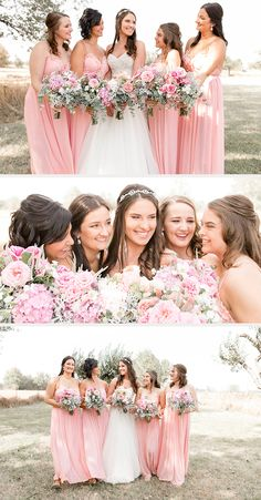 blush pink wedding bouquets for the bride and bridesmaids