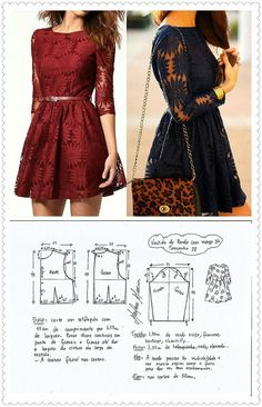 Lace dress Easy Sewing Patterns, Clothing Patterns, Dress Patterns, Lace Dress Pattern, Fashion Sewing, Diy Fashion, Sewing Clothes, Diy Clothes, Diy Kleidung