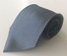 Bill Blass NEO Neck Tie Blue Green Checkered Weaved 100% Silk #BillBlass #NeckTie