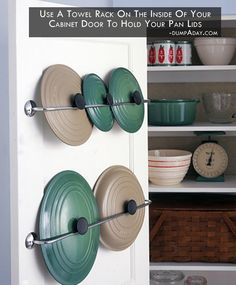 Genius DIY Kitchen Organization and Storage Ideas, DIY Lid Racks, Kitchen Storage and Organization Ideas Diy Kitchen Storage, Kitchen Organization, Organization Hacks, Organized Kitchen, Organizing Ideas, Storage Hacks, Cabinet Storage, Cabinet Space, Pot Lid Storage