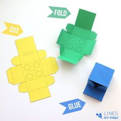 Download and print these Lego gift boxes. They would make perfect favor boxes at a Lego party, or just a fun way to give a small gift to a child.