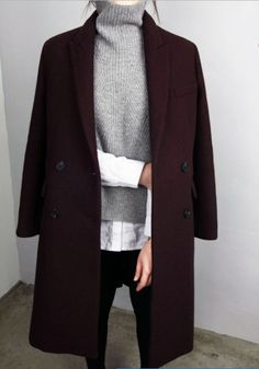 Oxblood coat grey knitted roll neck