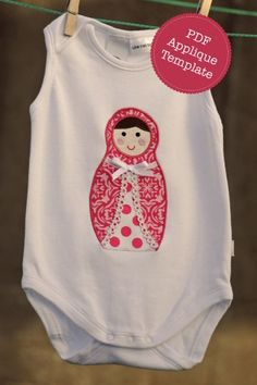 babushka applique - on a onesie or even a dress - 6/12 mth size or larger