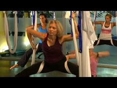 AntiGravity Yoga 'Wings' Class at Crunch Gym -i really wanna try this but i'd be the one to get tangled in the sheet or fall out of it lmfao!!