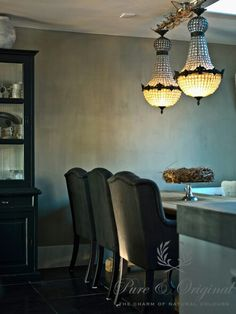 Never thought of just putting a to hold the chandeliars. Gray Interior, Interior Design, Dining Room Paint Colors, Paint Colours, Lime Paint, Dining Table Chairs, Dining Rooms, Dining Area, Dining Room Inspiration