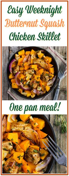 Healthy Meals Butternut Squash Chicken Skillet - one pan meal! Paleo, Gluten Free - Butternut Squash Chicken Skillet - one pan meal! Paleo Recipes, Real Food Recipes, Cooking Recipes, Paleo Food, Paleo Meals, Fast Recipes, Cooking Games, Paleo Pasta, Cooking Ribs