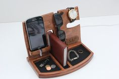 Wooden Charging Station, Gifts for men, Gift Ideas for Men, Mens valentines gift, Anniversary Gifts for Him, Iphone 7 Dock, Mens Gift.
