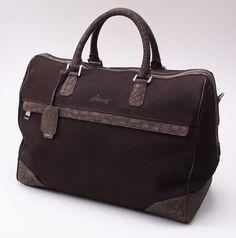 BRIONI Chocolate Nubuck Leather and Crocodile Overnight Duffle Bag