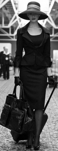 Classic suit with elegant hat. Looks like what women used to wear when one dressed up for traveling. : Classic suit with elegant hat. Looks like what women used to wear when one dressed up for traveling. Look Fashion, High Fashion, Fashion Outfits, Womens Fashion, Fashion Tips, Fashion Trends, Fashion Black, Fashion Beauty, Fashion Ideas