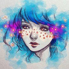 Risultati immagini per burning qinni Art And Illustration, Arte Inspo, Kunst Inspo, Anime Kunst, Anime Art, Yuumei Art, Qinni, Arte Do Kawaii, Galaxy Art