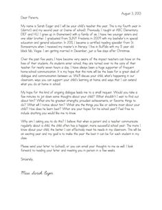 Welcome Letter To Parents From English Teacher  Google Search